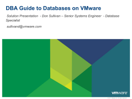 DBA Guide to Databases on VMware