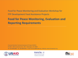 Food for Peace Monitoring, Evaluation and Reporting Requirements