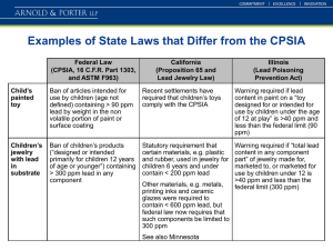 Examples of State Laws that Differ from the CPSIA