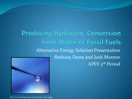 Hydrogen as a Fuel Source