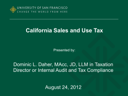 Sales and Use Tax Presentation