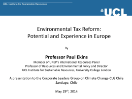 Environmental Tax Reform: A Policy for Green Growth