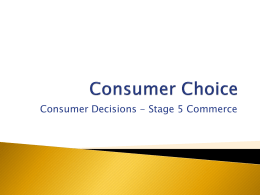 Consumer Decisions - Study Is My Buddy 2014