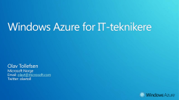 Windows Azure for IT-teknikere
