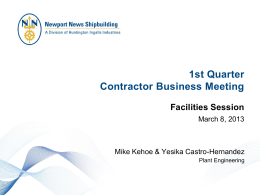 NNS Facilities Contractor Business Review Meeting