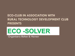 Eco-Club in association with Rural Technology