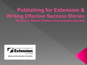 Publishing for Extension & Writing Effective Success Stories