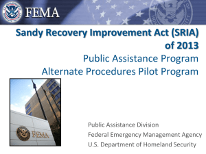 Sandy Recovery Improvement Act (SRIA) of 2013