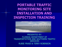 portable traffic monitoring station inspection training