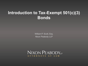 William P. Scott: Introduction to Tax-Exempt 501(c)(3) Bonds