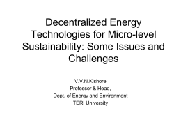 Decentralized Energy Technologies for Micro