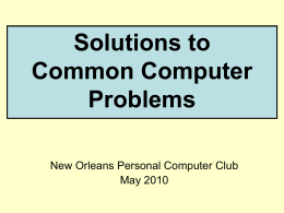 Solutions to Common Computer Problems - CCUG-PC