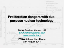 Proliferation dangers with dual purpose nuclear technology