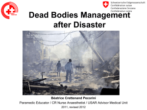 Dead Bodies Management after Disaster
