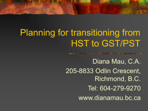Transitioning from HST to GST and PST