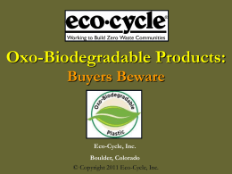 Oxo-Biodegradables - Eco