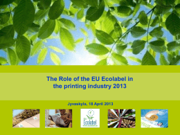 general introduction - EU Ecolabel Marketing for Products