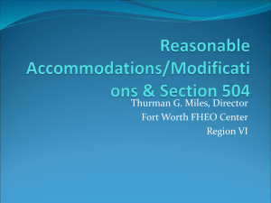 Reasonable Accommodations/Modifications & Section 504