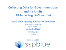 Collecting Data for Government Use and It`s Limits LPR Technology