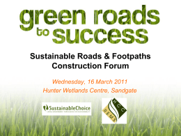 Green Roads Forum Presentation