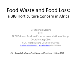 Food Waste and Food Loss: a BIG Horticulture