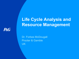 Life Cycle Analysis and Resource Management Slideshow 1