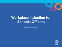 Schools Officers` Induction presentation