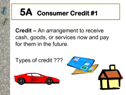 Chapter 5a: Consumer Credit Part I