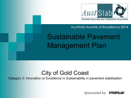 Sustainable Pavement Management