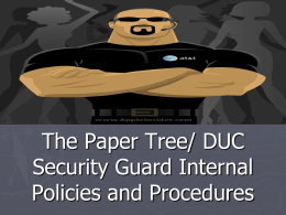 Security Guard Internal Policies and Procedures