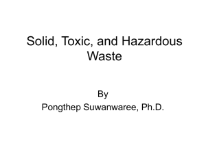 Solid, Toxic, and Hazardous Waste