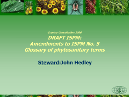 Amendments to ISPM No. 5 Glossary of phytosanitary terms