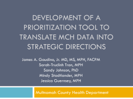 Development of a Prioritization Tool to Translate Maternal, Infant