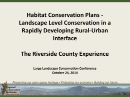 Western Riverside MSHCP Landscape Level Conservation