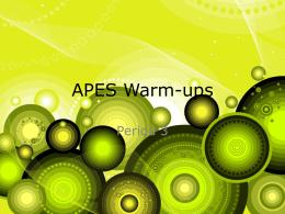 APES Warm-ups - mongano
