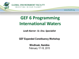GEF Focal Areas - International Waters