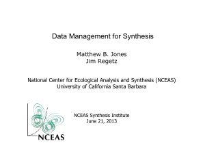 Data Management - National Center for Ecological Analysis and