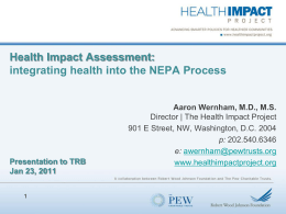 Health Impact Assessment - The Pew Charitable Trusts