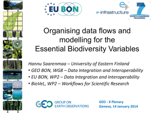 Organising data flows and modelling for Essential Biodiversity