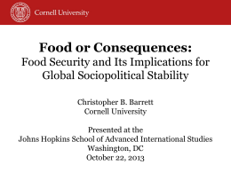 Food Security and Its Implications for Global
