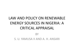 law and policy on renewable energy sources in nigeria