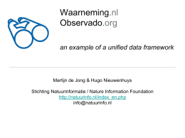 Waarneming.nl Observado.org an example of a unified data