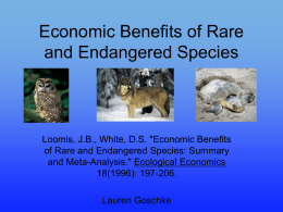 Economic Benefits of Rare and Endangered Species