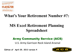 MS Excel Retirement Planning Spreadsheet