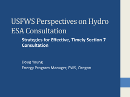 USFWS Perspectives on ESA Consultation