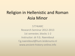 Religion in Hellenistic and Roman Asia Minor