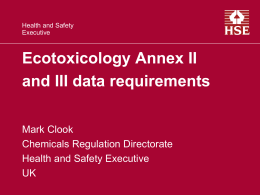 Presentation of M.Clook on ecotoxicology (September