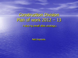 Construction Division Plan of work 2012 – 13