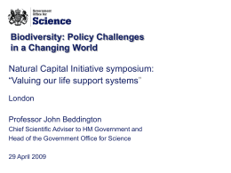 John Beddington - Natural Capital Initiative