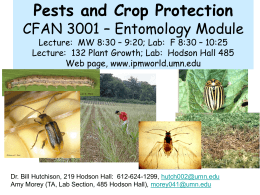 Crop and Pest Management AGRI 3001 – Entomology Module